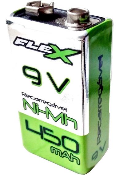 Bateria Pilha 9v Flex Recarregável 450mah - Nova, Original!