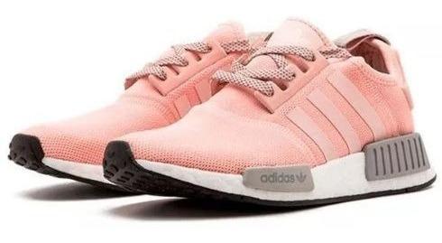 Tenis adidas Feminino Nmd R1 Rosa E Cinza Original Promoção