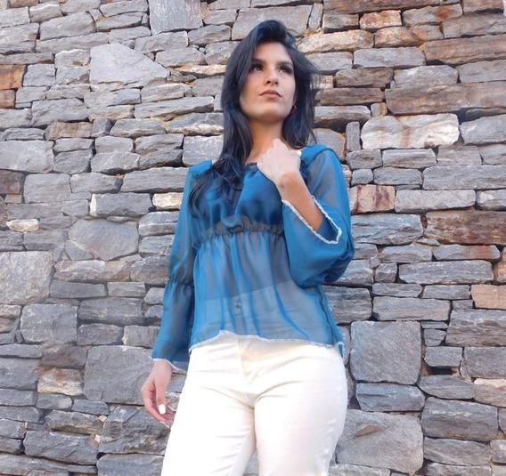 Blusa Azul En Chifon Moda