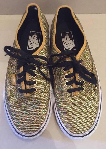 Zapatillas Vans Importadas Glitter Brillitos Doradas