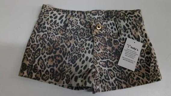 Shorts Curto Jeans Infantil Meninas Feminina Estampa De Onça