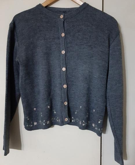 Sweater Saco Lana Mujer Florcitas Bordadas M Impecable