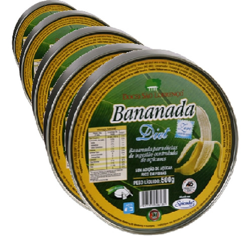 Imagem 1 de 1 de Kit 5 Und Bananada Diet Lata São Lourenço 500g