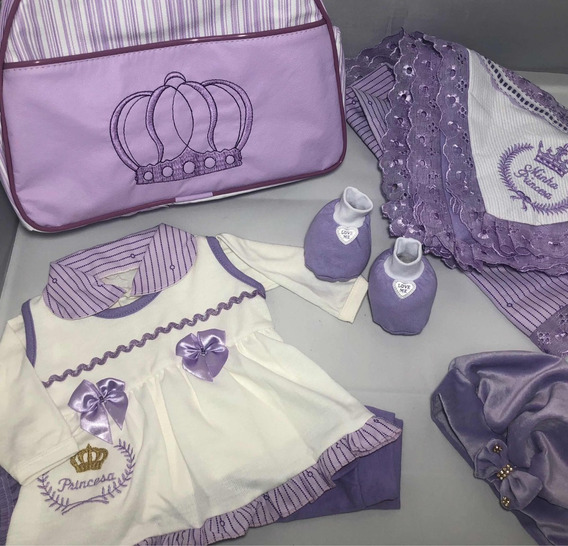 Saída De Maternidade - Vestido Menina Enxoval Bebê 5 Peças
