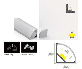 Perfil Aluminio Para Tiras Led Tipo Esquinero Ac1616-2 Mtrs