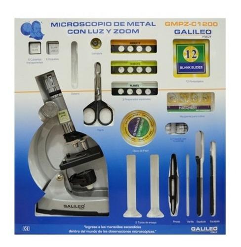 Imagen 1 de 5 de Microscopio Metal Gmpz C1200 Galileo Italy Con Luz Zoom Full
