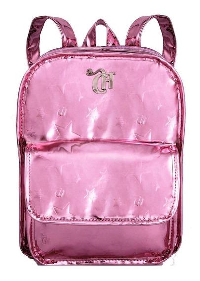 Mini Mochila Capricho Metalizada Stars Pink