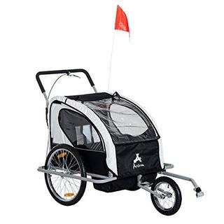 Aosom Elite 2in1 Double Child Bike Trailer /jogger - Negro
