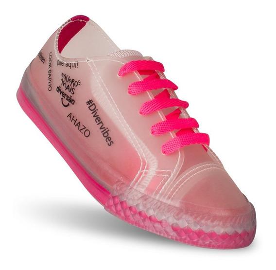 Tênis Infantil Feminino Diversão Ahazo Low Pink Neon 25 A 32