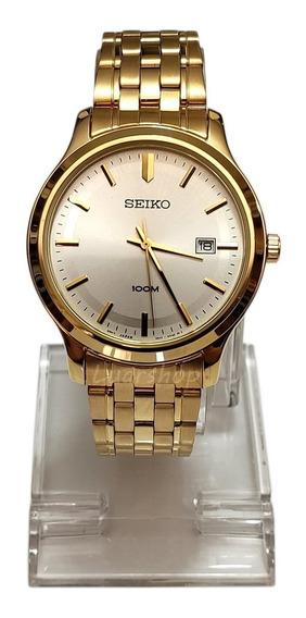 Relógio Seiko Dourado Quartz Grande Sur148p1 Original Leia