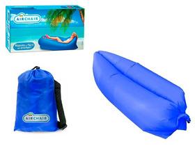 Air Chair Bag Sofá Inflável Saco Dormir Camping Praia Azul
