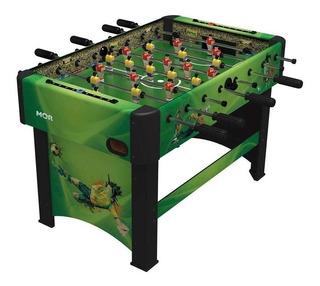 Mesa de pebolim Mor Distribuidora Stadium cor verde com bonecos de polipropileno e bolas incluídas