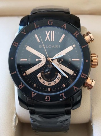 Relógio Masculino Bullgari Preto Com Detalhes Rosé