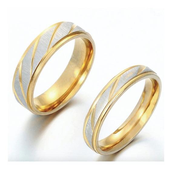 2 Anillos Arras Boda Matrimonio Pareja Oro Acero Inoxidable