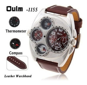 Relógio Oulm Militar Bússola Termometro Esportivo Quartzo