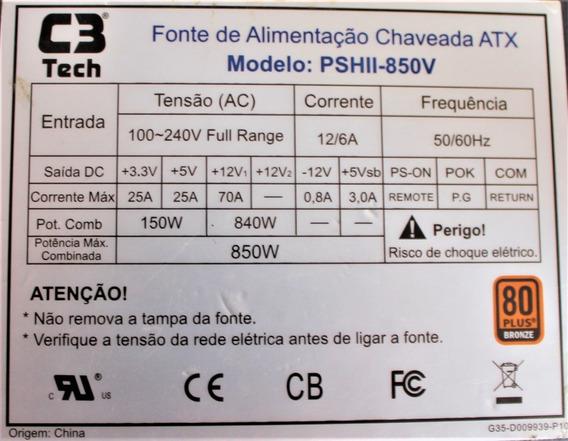 Fonte Atx 850w Real - 850v C/pfc Ativo C3 Tech Reembalada
