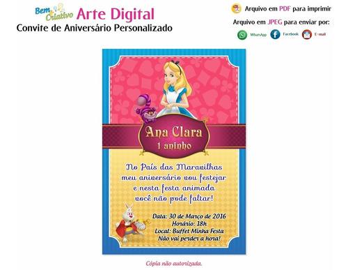 Imagem 1 de 1 de Arte Convite Infantil Alice No País Das Maravilhas