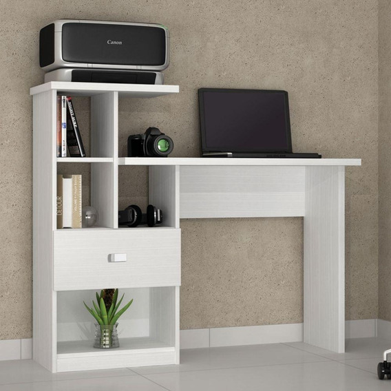 Mesa Escrivaninha Para Quarto Branca Connect Benetil Para Pc