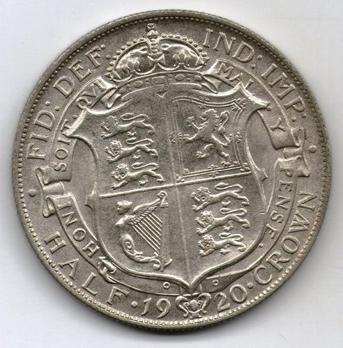 Gran Bretaña Moneda 1/2 Crown 1920 Unc Km#818.1a - Argentvs