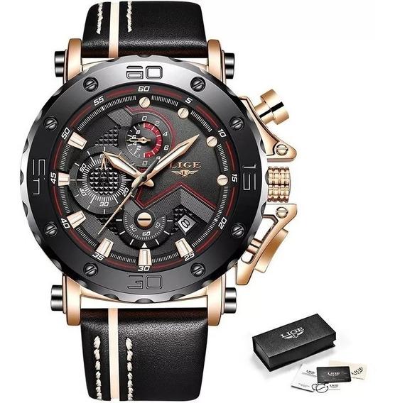 Relógio Masculino Lige Nigth Casual Na Caixa Original