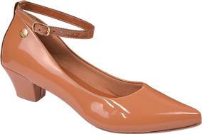 Sapato Feminino Scarpin Salto Baixo Grosso Festa Ref: 36.002