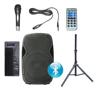 Bafle Potenciado 15 1000w Bluetooth Usb Sd Fm Con Tripode