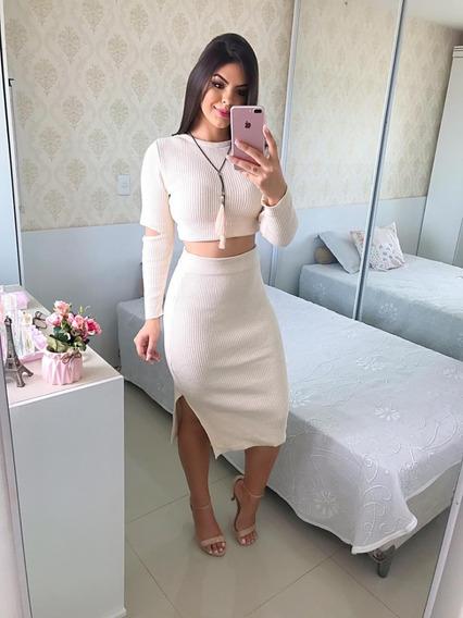 Conjunto Moda Feminina Cropped E Saia Cintura Alta