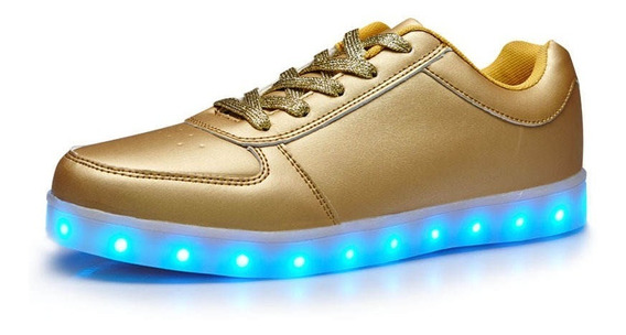 Zapatillas Con Luz Led Recargables Usb Luminosas Dorado