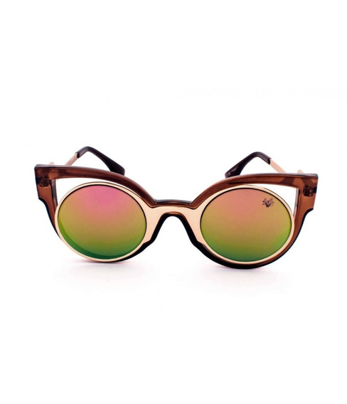 Óculos De Sol Drop Me Las Gatinho Marrom Acetato Espelhado