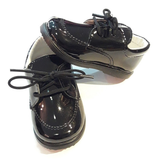 Zapato Negro Charol Fiesta Bautismo Comunión Nene 17 Al 26!