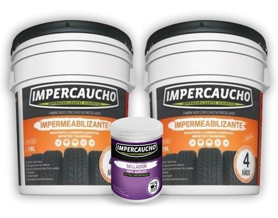 Impermeabilizante Impercaucho 2 Cubetas 19 + Sellador 4 Años