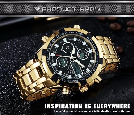 Relógio De Pulso Masculino Amuda Dourado Analógico/digital!