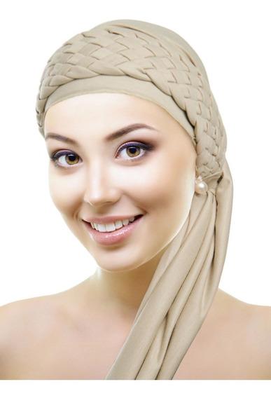 Turbante Bege + Tiara De Trança Bege: Quimioterapia