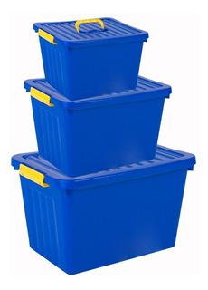 Caja Organizadora Apilable Plastico Set X 3