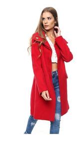 Tapado Saco Largo Mujer De Paño Rojo Negro Camel Microcentro