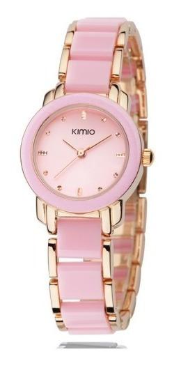 Relógio Feminino De Luxo Pulseira Porcelana Rosa/dourado