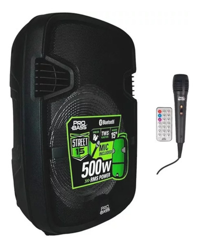 Caixa Som Portátil Probass Street 15 Bateria E Microfone Usb