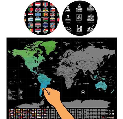 Mapamundi Premium Para Raspar Scratch Mapa Banderas Poster