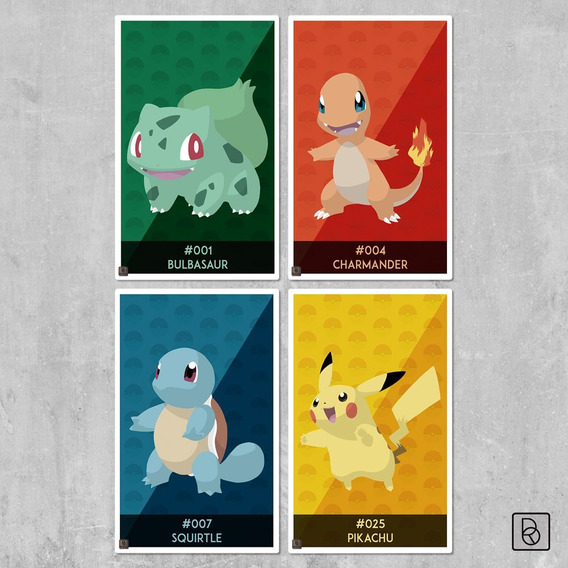Pokémon Cuadros Tamaño Xl (x4) Pikachu Charmander Squirtle
