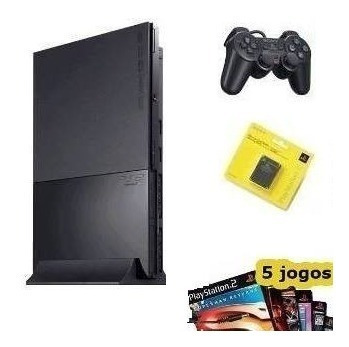 Playstation 2 Ps2 Play2 Play + 1 Controle + 5 Jogos Brindes