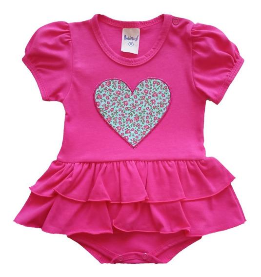 Macacão Curto Bebê Menina 100% Algodão Coração Verão 2020