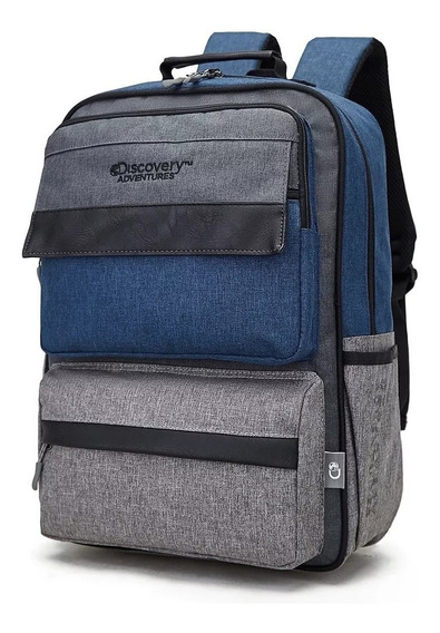 Mochila Discovery Porta Notebook 2020 Azul Gris Bolsillos