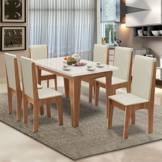 Conjunto De Mesa Miami 1,37m Com 6 Cadeiras Cedro/off White