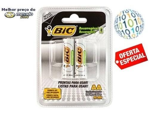 Gadgetfacil - Pilha Recarregável Bic Aa 1,2v 2000mah