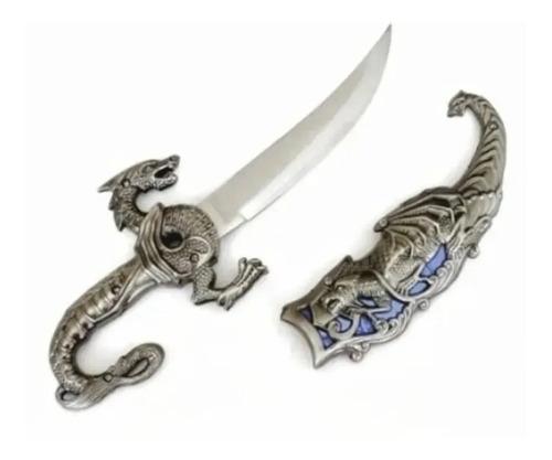 Adaga Aço Dragão Faca Espada Bainha P/ Colecionador 25cm