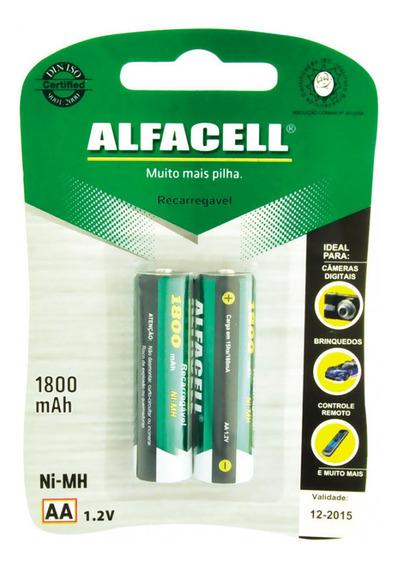 Pilha Recarregável Alfacell Aa 1800mah 1,2v Embalagem Com 2