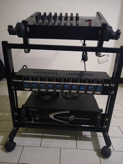 Rack Com Mesa Wattsom Potência Ll Audio E Regua