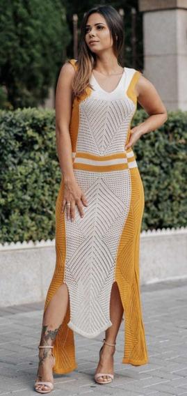 Vestido Longo Tricô Bicolor Fendas Fashion Cód.58 Formatura