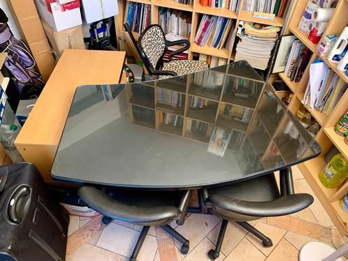 Escritorio De Diseño Italiano Moderno Madera Cristal E Inox