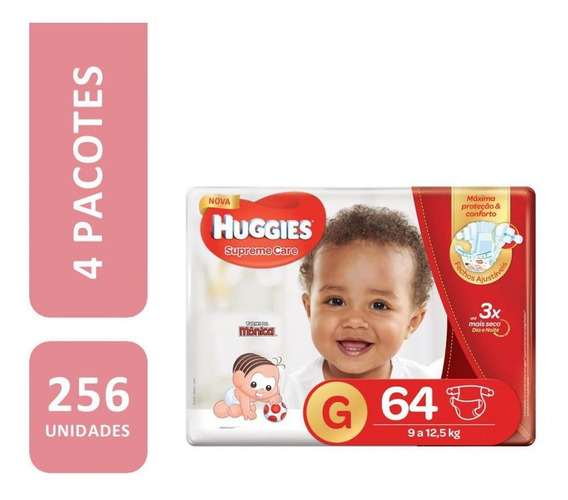 Kit De Fraldas Huggies Hiper Supreme Care G - 256 Unidades